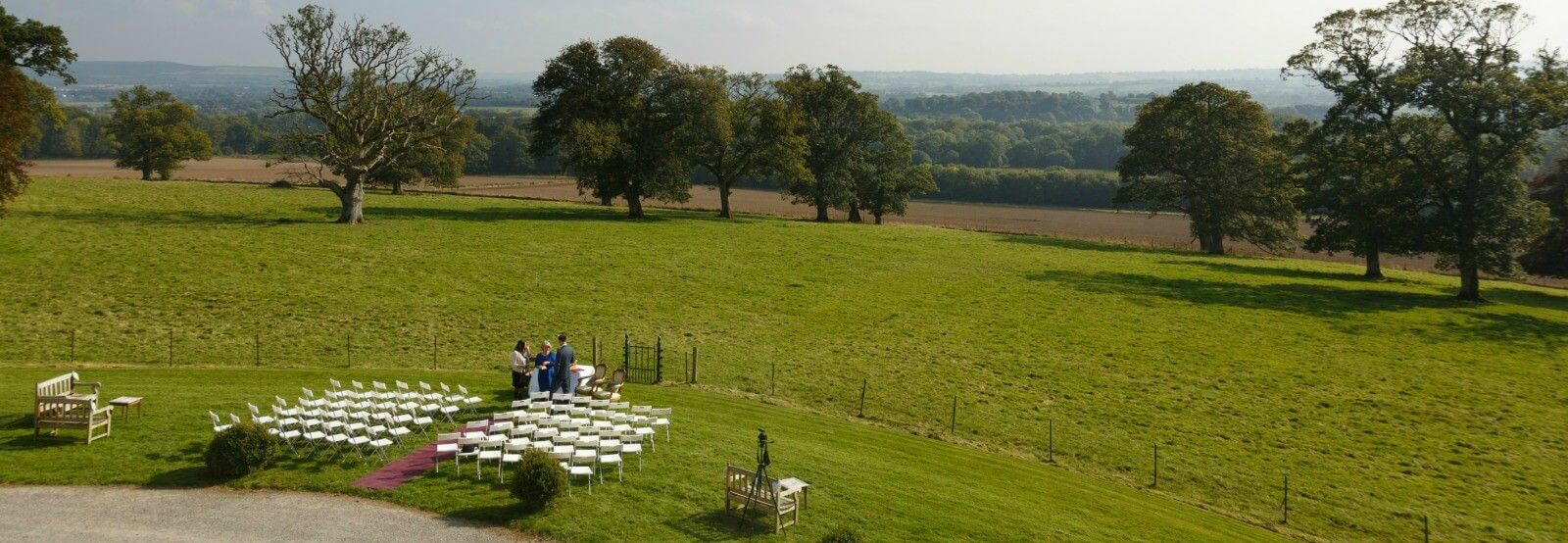wedding set up front lawn ceremony